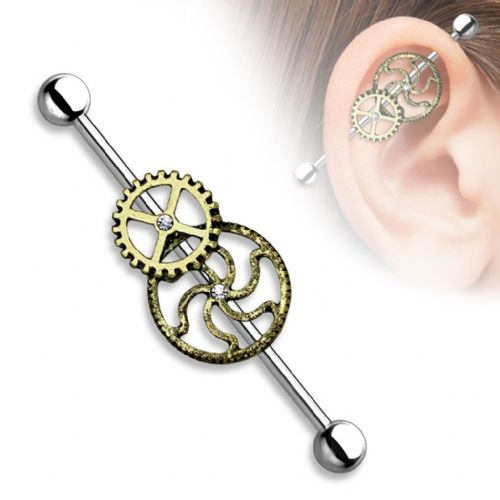 Steampunk Industrial Barbell Piercing Burnished Gold